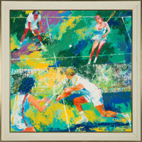 "1975 ""Mixed Doubles"" Original Oil on Board Painting by LeRoy Neiman"