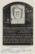 Baseball Collectibles:Others, 1950's Dazzy Vance Signed Artvue Hall of Fame Postcard. ...