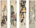 , Wu Changshuo (Chinese, 1844-1927). Peony, Bottle Gourds, andLoquats, Dingzi, 1917. Four works, ink and color on paper. ...(Total: 4 Items)