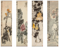 Wu Changshuo (Chinese, 1844-1927) Peony, Bottle Gourds, and Loquats, Dingzi, 1917 Four works, ink an