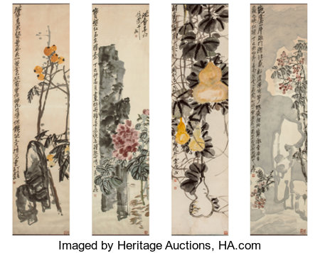 Wu Changshuo (Chinese, 1844-1927)Peony, Bottle Gourds, and Loquats, Dingzi, 1917Four works, ink and color on paper... (Total: 4 Items)