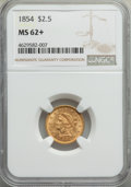 1854 $2 1/2 MS62+ NGC. NGC Census: (120/86 and 1/0+). PCGS Population: (64/94 and 1/4+). CDN: $500 Whsle. Bid for proble...