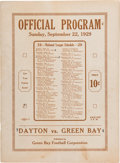 Football Collectibles:Programs, 1929 Green Bay Packers vs. Dayton Triangles Program - Championship Season in Front of Only 5,000 Fans!...