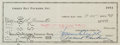 Football Collectibles:Others, 1960 Vince Lombardi Signed Check Made to Bill Forrester. ...