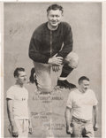 Football Collectibles:Photos, 1944 Curly Lambeau, Don Hutson and George Trafton Multi-Signed Program Page....