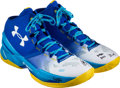 Baseball Collectibles:Others, 2016 Stephen Curry NBA Finals Game Five Worn & Signed Golden State Warriors Sneakers--Photo Matched!...