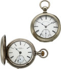 Timepieces:Pocket (pre 1900) , The Newark Watch No. 9511 & Arthur Wadsworth N.Y. Patent Keyless Watch. ... (Total: 2 Items)