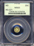 California Fractional Gold: , Undated 25C Liberty Round 25 Cents, BG-221, R.3, MS63 PCGS....