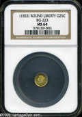 California Fractional Gold: , Undated 25C Liberty Round 25 Cents, BG-223, Low R.4, MS64 NGC....