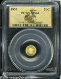 California Fractional Gold: , 1853 50C Liberty Round 50 Cents, BG-409, R.3, MS64 PCGS....