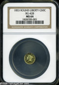 California Fractional Gold: , 1853 50C Liberty Round 50 Cents, BG-428, R.3, MS64 NGC....