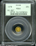 California Fractional Gold: , 1870 25C Goofy Head Round 25 Cents, BG-867, R.4, MS64 PCGS....