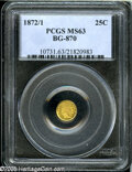 California Fractional Gold: , 1872/1 25C Indian Round 25 Cents, BG-870, R.3, MS63 PCGS....