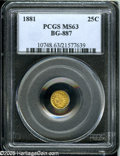 California Fractional Gold: , 1881 25C Indian Round 25 Cents, BG-887, R.3, MS63 PCGS....