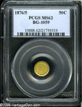 California Fractional Gold: , 1876/5 50C Indian Round 50 Cents, BG-1059, R.4, MS62 PCGS....