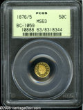 California Fractional Gold: , 1876/5 50C Indian Round 50 Cents, BG-1059, R.4, MS63 PCGS....