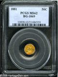 California Fractional Gold: , 1881 50C Indian Round 50 Cents, BG-1069, High R.4, MS62 PCGS....