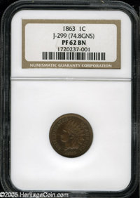 1863 1C One Cent, Judd-299, Pollock-359, AW-424, R.7, PR62 Brown NGC. 74.8 grains. Although Judd-299 is R.3 if all varia...