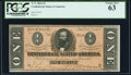 Confederate Notes:1864 Issues, T71 $1 1864 PF-12 Cr. 574 PCGS Choice New 63.. ...