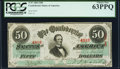 Confederate Notes:1863 Issues, T57 $50 1863 PF-8 Cr. 414 PCGS Choice New 63PPQ.. ...
