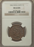 1846 1C Small Date MS64 Brown NGC. NGC Census: (22/20). PCGS Population: (40/10). CDN: $450 Whsle. Bid for problem-free...