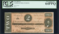 Confederate Notes:1864 Issues, T70 $2 1864 PF-5 Cr. 567 PCGS Very Choice New 64PPQ.. ...