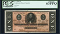 Confederate Notes:1864 Issues, T71 $1 1864 PF-12 Cr. 574 PCGS Choice New 63PPQ.. ...