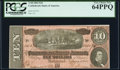 Confederate Notes:1864 Issues, T68 $10 1864 PF-42 Cr. 551 PCGS Very Choice New 64PPQ,. ...