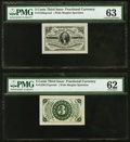 Fractional Currency:Third Issue, Fr. 1226SP 3¢ Third Issue Wide Margin Pair PMG Graded.. ... (Total: 2 notes)