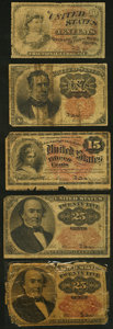 Fractional Currency:Fifth Issue, A Quintet of Circulated Fractional Notes. Good or Better.. ...(Total: 5 notes)