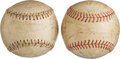 Autographs:Bats, 1942 New York Yankees Team Signed Baseballs Lot of 2....