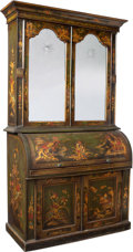 Furniture, An Early Victorian Secretary with Elaborate Japanned Decoration, 19th century. 88-5/8 x 48-3/4 x 23-1/8 inches (225.1 x 123....