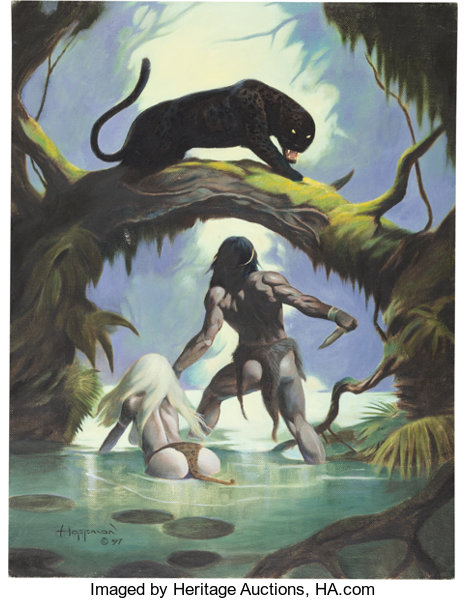 ec525d5396012 Mike Hoffman - Barbarian and Black Panther Painting Original Art ...