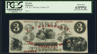 Candor, NY- J. W. & J. McCarty Cheap Ready Pay Store $3 ND (ca. 1850s-1860s) Remainder PCGS Choice New 63PPQ
