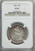 Seated Half Dollars: , 1843 50C XF45 NGC. NGC Census: (47/153). PCGS Population: (107/215). CDN: $180 Whsle. Bid for problem-free NGC/PCGS XF45. M...