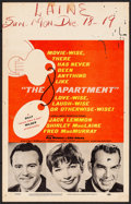 "Movie Posters:Comedy, The Apartment (United Artists, 1960). Fine-. Window Card (14"" X22""). Comedy. . ..."