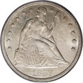 Seated Dollars: , 1857 $1 MS64 PCGS. This moderately prooflike Seated dollar hasstreaks of light autumn-gold t...