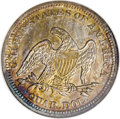 Seated Quarters: , 1850 25C MS64 NGC. This toned near-Gem ranges in color from palegold to bronze to patches of cobalt-blue near the peripher...