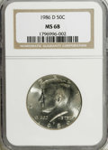 Kennedy Half Dollars: , 1986-D 50C MS68 NGC. NGC Census: (1/1). PCGS Population (4/0).Mintage: 15,336,145. (#6750)...