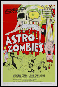 "The Astro-Zombies (Geneni, 1968). One Sheet (27"" X 41""). John Carradine stars as Dr. DeMarco, a loony scientis..."