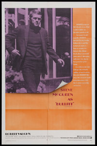 "Bullitt (Warner Brothers, 1968). One Sheet (27"" X 41""). Action Thriller. Starring Steve McQueen, Robert Vaughn..."