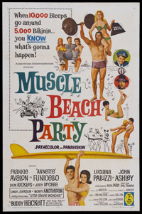 """Muscle Beach Party (American International, 1964). One Sheet (27"""" X 41""""). Musical Comedy. Starring Frankie Ava..."""