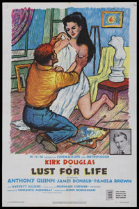 """Lust for Life (MGM, 1956). One Sheet (27"""" X 41""""). Biography Drama. Starring Kirk Douglas, Anthony Quinn, James..."""