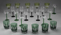 Miscellaneous: , GROUP OF ASSORTED CRYSTAL STEMWARE. Group includes: six green cutto clear glass tumblers; six glasses with green stems, e... (Total:23 Items)