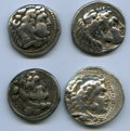 Ancients:Ancient Lots  , Ancients: ANCIENT LOTS. Greek. Macedonian Kingdom. Alexander IIIthe Great (336-323 BC). Lot of four (4) AR tetradrachms.Fine-VF.... (Total: 4 coins)
