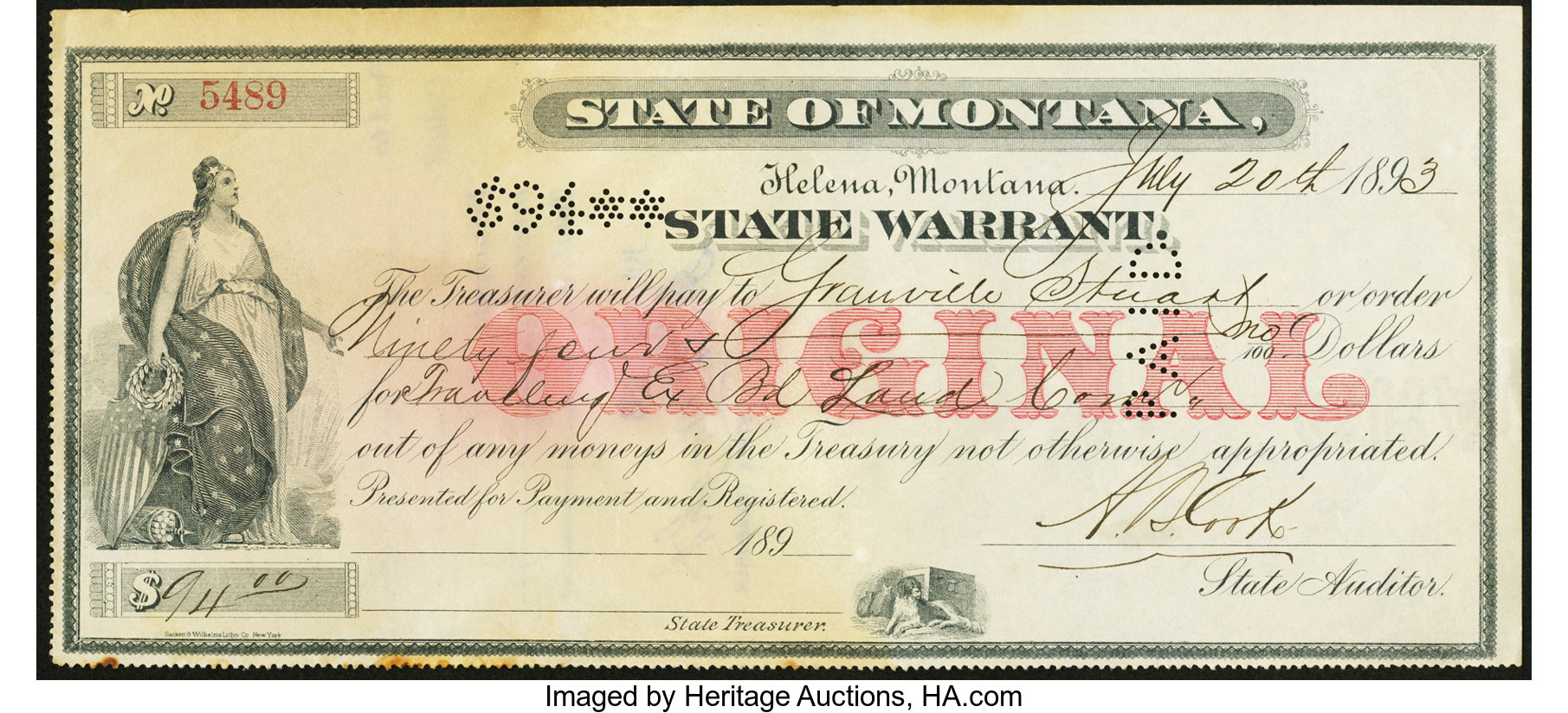 Helena, MT- State of Montana State Warrant $94 July 20, 1893 Very