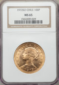 Chile, Chile: Republic gold 100 Pesos 1972-So MS65 NGC,...