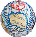 Baseball Collectibles:Balls, 1990's Mickey Mantle Single Signed Baseball Painted by Charles Fazzino....
