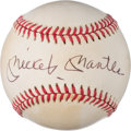 Baseball Collectibles:Balls, 1980's Mickey Mantle Single Signed Baseball from The Enos Slaughter Collection....