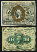 Fractional Currency:First Issue, Fr. 1240 10¢ First Issue;. Fr. 1245 10¢ Second Issue.. Choice About New.. ... (Total: 2 notes)